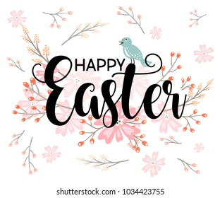 Happy Easter hand sketched logotype, badge typography icon. Lettering Happy Easter with flowers for greeting card, invitation template. Retro, vintage lettering banner poster template background
