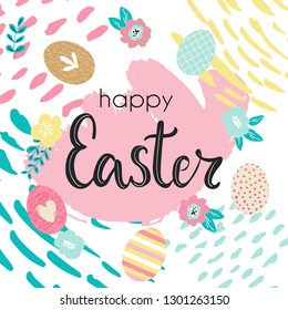 Happy Easter hand written lettering words and cute floral adorable banner with flowers, eggs, leaves and hand drawn textures and brush strokes on background