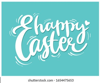 Happy Easter hand-drawn calligraphy and brush pen lettering. Vector design for invitation, greeting card, web, postcard. Creative white typography on aquamarine background.