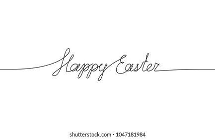 HAPPY EASTER handwritten inscription. Hand drawn lettering. alligraphy. One line drawing of phrase. Vector illustration
