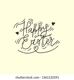 Happy Easter handwritten lettering with hearts and embelishments . Hand drawn brush pen calligraphy, typography. Simple creative vector black and white design for holiday greeting card, stamp, poster.