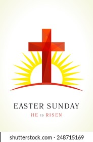 Happy easter. He is risen. Greetings celebrating invite. Calvary cross in sun light vector logo. Missionary card. Template for churches, events, organizations. Stained-glass crucifixion window pieces.