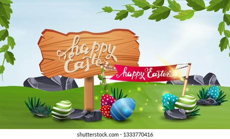 Happy Easter, hoeizontal vector illustration with wooden pointer, Easter eggs and flag with spring landscape