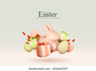 Happy Easter Holiday background. Festive design with realistic decoration elements 3d rabbit and gift box. Easter bunny and eggs. Banner, web poster, flyer cover, stylish brochure, greeting card.