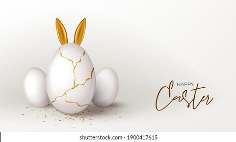 Happy Easter holiday banner template. White eggs with gold liquid and golden ears of rabbit. Vector illustration with 3d decorative objects. Greeting card with gold confetti.