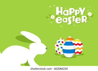 Happy Easter holiday celebration design with colorful eggs and white rabbit on spring time. EPS10 vector.