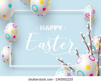 Happy Easter holiday composition with 3d Easter eggs and willow branches on blue background. Top view with copy space. Vector illustration. - Vector