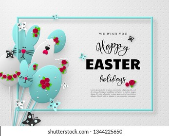 Happy Easter holiday design. 3d paper cut eggs, bunnies and hens decorated flowers with frame and butterfly. White spotted background. Vector.