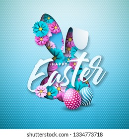 Happy Easter Holiday Design with Painted Egg, Spring Flower in Nice Rabbit Face Silhouette on Light Blue Background. Vector Illustration of International Celebration Design with Typography Letter for