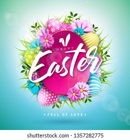Happy Easter Holiday Design with Painted Egg and Spring Flower on Blue Background. International Vector Celebration Illustration with Typography for Greeting Card, Party Invitation or Promo Banner.