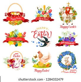 Happy Easter Holiday icon for greeting card design. Spring flower frame with Easter egg hunt basket, rabbit bunny and candle, chicken, lamb of God and ribbon banner with He Is Risen greeting wishes