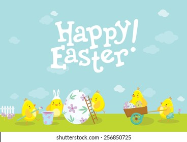 Happy Easter holiday illustration with cute chicken cartoon characters. Happy Easter lettering. Vector illustration.
