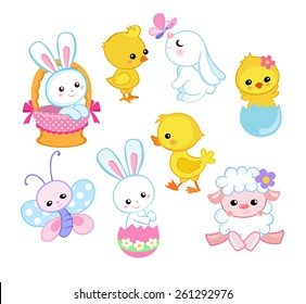 Happy Easter holiday illustration with cute chicken, bunny, duck, lamb cartoon characters.  Vector illustration.