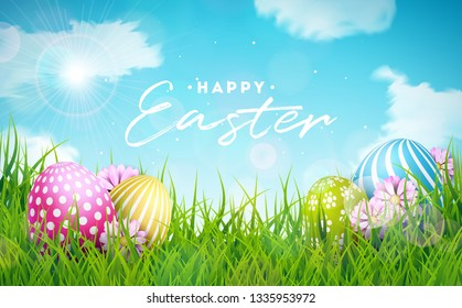 Happy Easter Holiday Illustration with Painted Egg and Flower on Nature Grass Background. Vector International Celebration Design with Typography for Greeting Card, Party Invitation or Promo Banner.