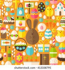 Happy Easter Holiday Orange Seamless Pattern. Flat Design Vector Illustration. Tile Background. Set of Spring Christian Religion Items.
