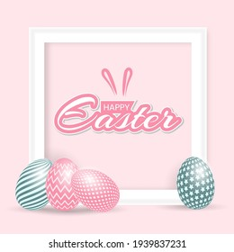 Happy easter holliday with painted ornament on egg. Realistic egg, text and photo frame inside. Blue and pink egg.