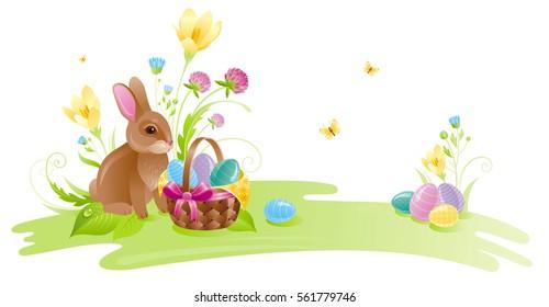 Happy Easter horizontal banner border. Spring landscape bunny rabbit, colored egg, crocus clover flower, grass, butterfly. Springtime nature. Vector illustration background. Greeting card