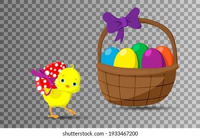 Happy Easter. Easter icon. Chicken baby. Easter basket. Colorfull egg. Easter egg. Happy chick. PNG. Vector illustration. Transparent background.