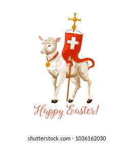Happy Easter icon of lamb and cross on flag for Resurrection Sunday greeting card or poster. Vector isolated symbol of Christian religious lamb and cross for for Easter celebration