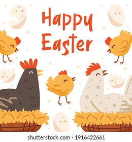 Happy Easter illustration, banner, greeting card design template. Lettering, text. Hen, bird, domestic animal. Farm, countryside life.