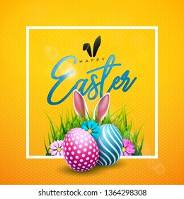 Happy Easter Illustration with Colorful Flower and Painted Egg on Shiny Yellow Background. Vector International Holiday Celebration Design with Typography for Greeting Card, Party Invitation or Promo