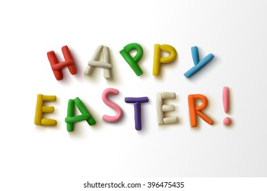 Happy easter! Inscription of colorful plasticine letters. Vector illustration.