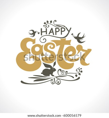 4928d6b93ad Happy Easter Inscription Easter Lettering Poster Stock Vector ...