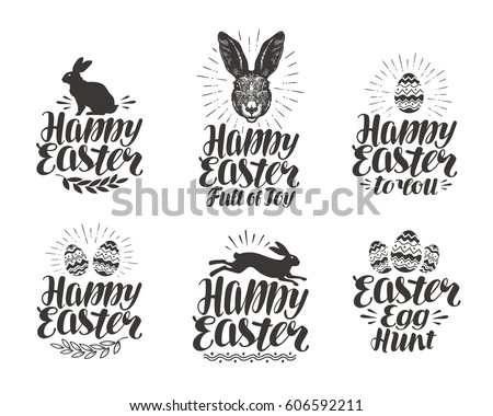 35ebab1258 Happy Easter Label Set Egg Rabbit Stock Vector (Royalty Free ...