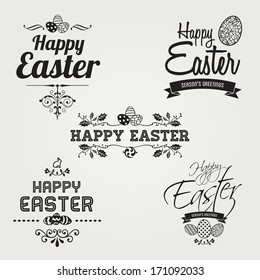 Happy Easter labels set, instant color change, vector design