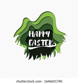 Happy Easter lettering background with Paper-Cut effect. Vector illustration for happy easter holiday greeting card, ad, promotion, poster, flyer, web-banner, article. Design element.
