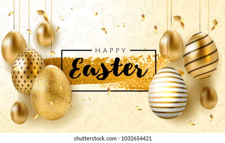 Happy Easter lettering background with realistic golden shine decorated eggs, confetti, golden brush splash. Vector illustration greeting card, ad, promotion, poster, flyer, web-banner, article