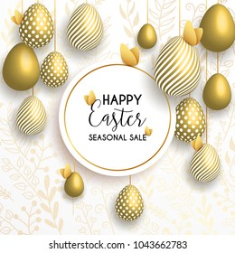 Happy Easter lettering background with realistic golden shine decorated eggs, confetti, golden branches. Vector illustration greeting card, ad, promotion, poster, flyer, web-banner, article