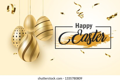Happy Easter lettering background with realistic golden shine decorated eggs, confetti, golden brush splash. Vector illustration greeting card, ad, promotion, poster, flyer,