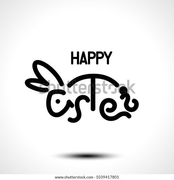 Happy Easter lettering with a bunny for greeting card. Vector illustration