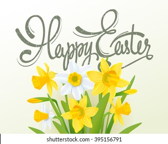 Happy easter lettering calligraphy card. Happy Easter greeting card with flowers elements composition. Happy Easter poster template