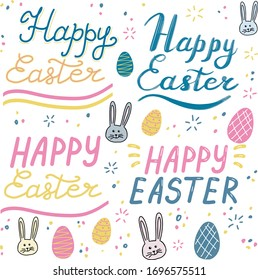 Happy Easter, lettering calligraphy set,  colorful text on white background. Slogans, eggs, rabbits, bunny. Template for typography poster, banner,  postcard, flyer, eps.