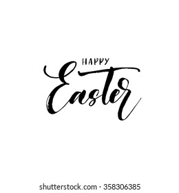 Happy Easter lettering card. Hand drawn lettering poster for Easter. Ink illustration. Modern calligraphy. Happy Easter typography background.