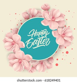 Happy Easter Lettering in Circle, Flowers