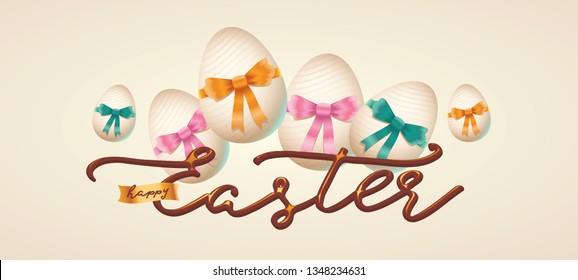 Happy easter lettering, golden easter logo elements, colorful ribbons. Vector illustration greeting card, ad, promotion, poster, flyer, web-banner, article