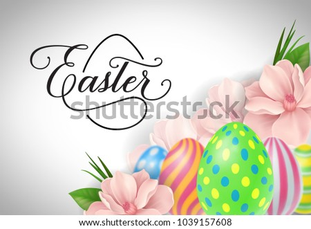 Happy easter lettering easter greeting card stock vector royalty happy easter lettering easter greeting card with flowers and eggs handwritten text calligraphy m4hsunfo