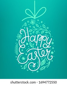 Happy Easter lettering inscription. Easter eggs in doodle style