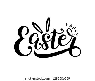 Happy easter lettering logo decorated by rabbit ears. Hand drawn sketch as logotype, print, badge, greeting card template, emblem. Vector illustration EPS 10