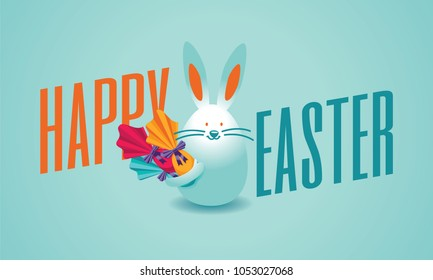 Happy easter lettering, easter logo elements, colorful ribbons and eggs. Vector illustration greeting card, ad, promotion, poster, flyer, web-banner, article