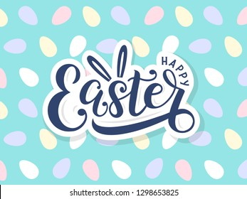 Happy easter lettering logo on seamless easter eggs background. Template for easter cards, postcards, invitations, badges, stickers, prints. Vector eps 10