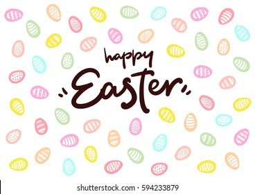 Happy Easter lettering logo vector postcard with eggs background