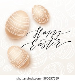 Happy Easter lettering on watercolor egg. Vector illustration EPS10
