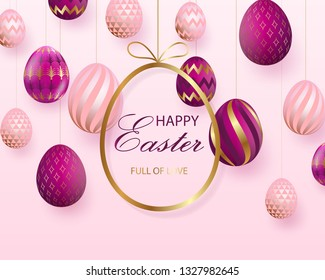 Happy Easter lettering with pink gold realistic looking eggs. Vector illustration. Geometric patterns. Resurrection Sunday greeting card, postcard, invitation, poster, banner template.