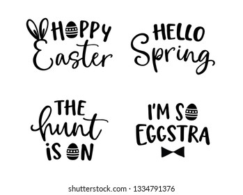 Happy Easter lettering set. Black hand lettered quotes with eggs for greeting cards, gift tags, labels, T-shirts. Typography collection. Spring and Easter egg hunt concept. Isolated vector s