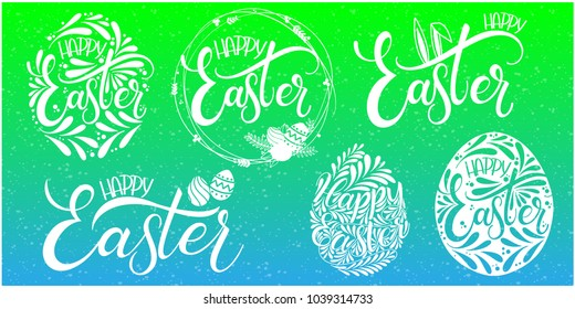 Happy Easter lettering set. Hand written Easter phrases. Seasons Greetings. Easter Quotes