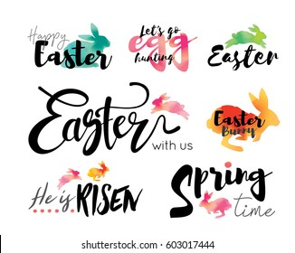 Happy Easter Lettering with watercolor